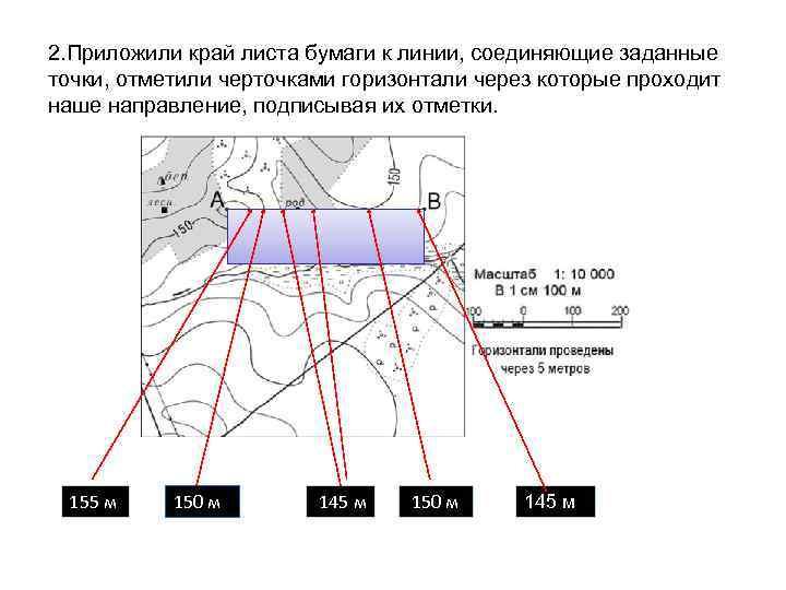 2. Приложили край листа бумаги к линии, соединяющие заданные точки, отметили черточками горизонтали через