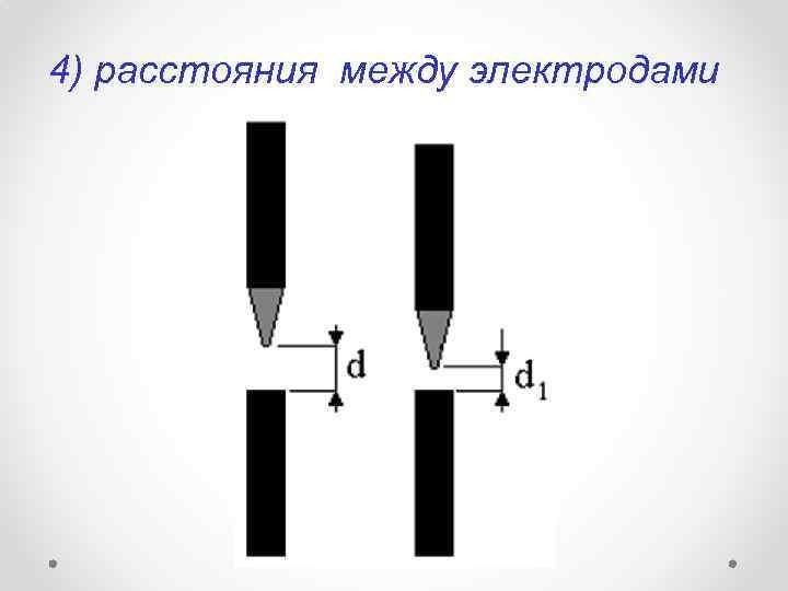 4) расстояния между электродами