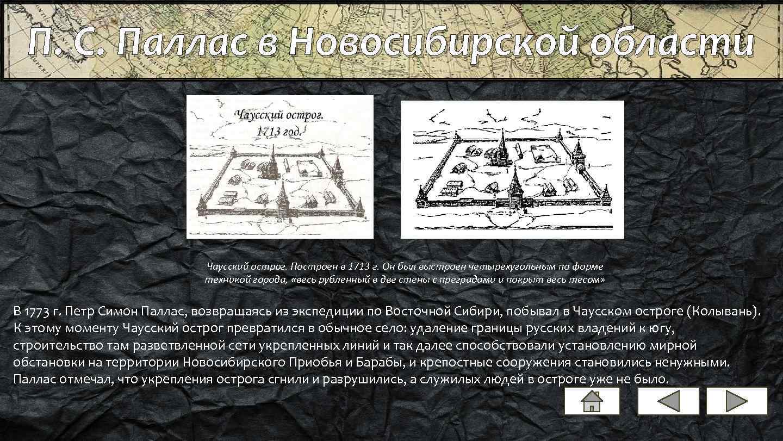 П. С. Паллас в Новосибирской области Чаусский острог. Построен в 1713 г. Он был