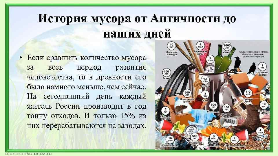 История мусора от Античности до наших дней • Если сравнить количество мусора за весь