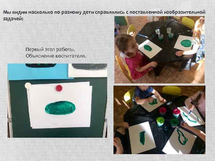 Мы видим насколько по-разному дети справлялись с поставленной изобразительной задачей: Первый этап работы. Объяснение