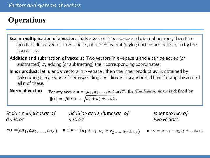 Vector space addition and scalar multiplication
