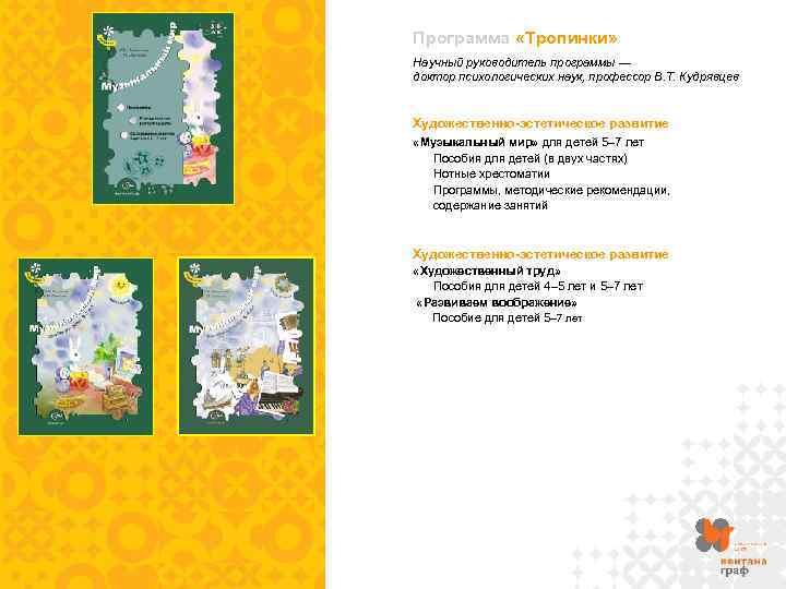 Программа «Тропинки» Научный руководитель программы — доктор психологических наук, профессор В. Т. Кудрявцев Художественно-эстетическое