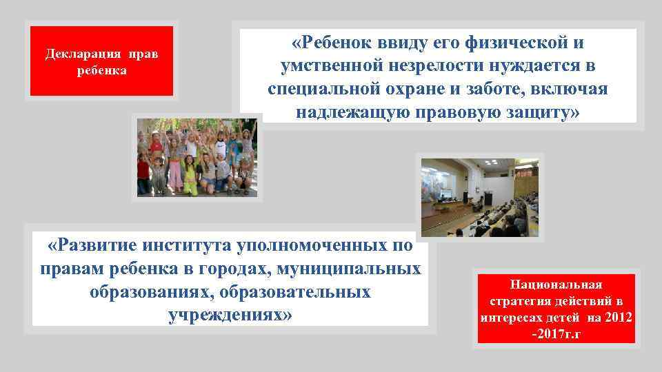 Декларация прав ребенка «Ребенок ввиду его физической и умственной незрелости нуждается в специальной охране