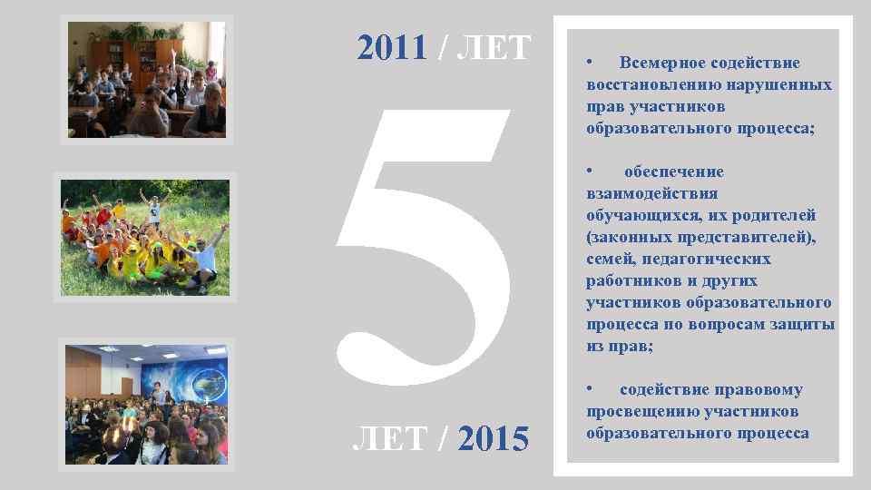 5 2011 / ЛЕТ / 2015 • Всемерное содействие восстановлению нарушенных прав участников образовательного