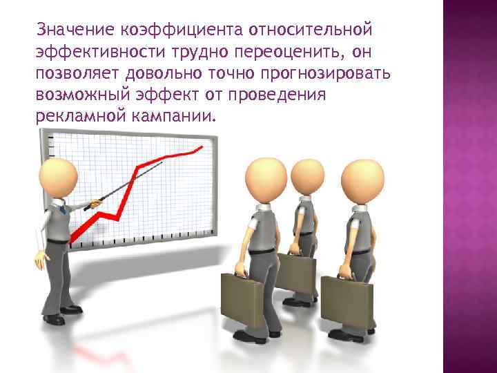 Значение коэффициента относительной эффективности трудно переоценить, он позволяет довольно точно прогнозировать возможный эффект от