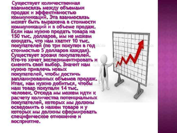 Существует количественная взаимосвязь между объемами продаж и эффективностью коммуникаций. Эта взаимосвязь может быть выражена