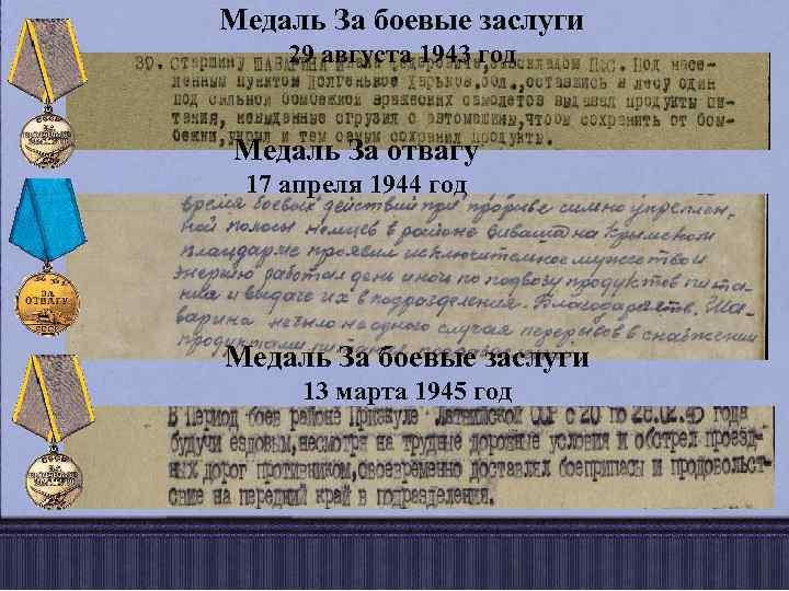 Медаль За боевые заслуги 29 августа 1943 год Медаль За отвагу 17 апреля 1944