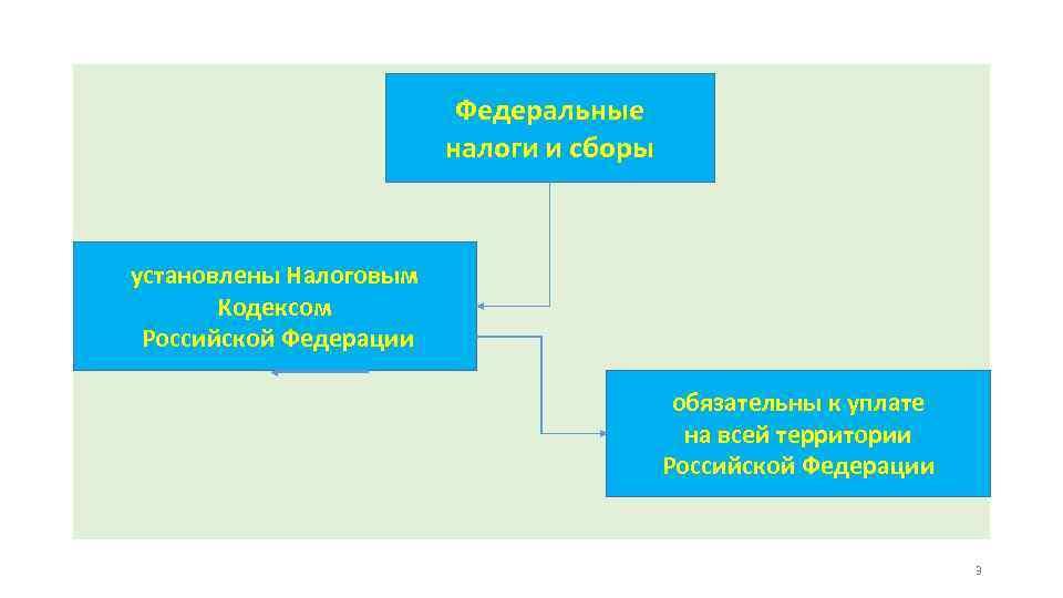 Федеральные налоги и сборы установлены Налоговым Кодексом Российской Федерации обязательны к уплате на всей