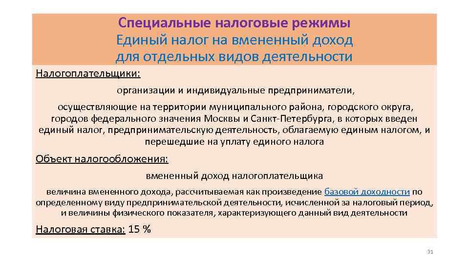 Специальные налоговые режимы Единый налог на вмененный доход для отдельных видов деятельности Налогоплательщики: организации