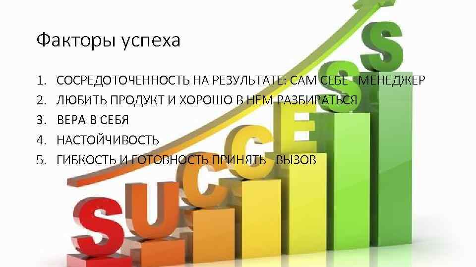 Факторы успеха 1. 2. 3. 4. 5. СОСРЕДОТОЧЕННОСТЬ НА РЕЗУЛЬТАТЕ: САМ СЕБЕ МЕНЕДЖЕР ЛЮБИТЬ