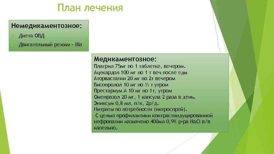 План лечения Немедикаментозное: Диета ОВД Двигательный режим - IIIа Медикаментозное: Плагрил 75 мг по