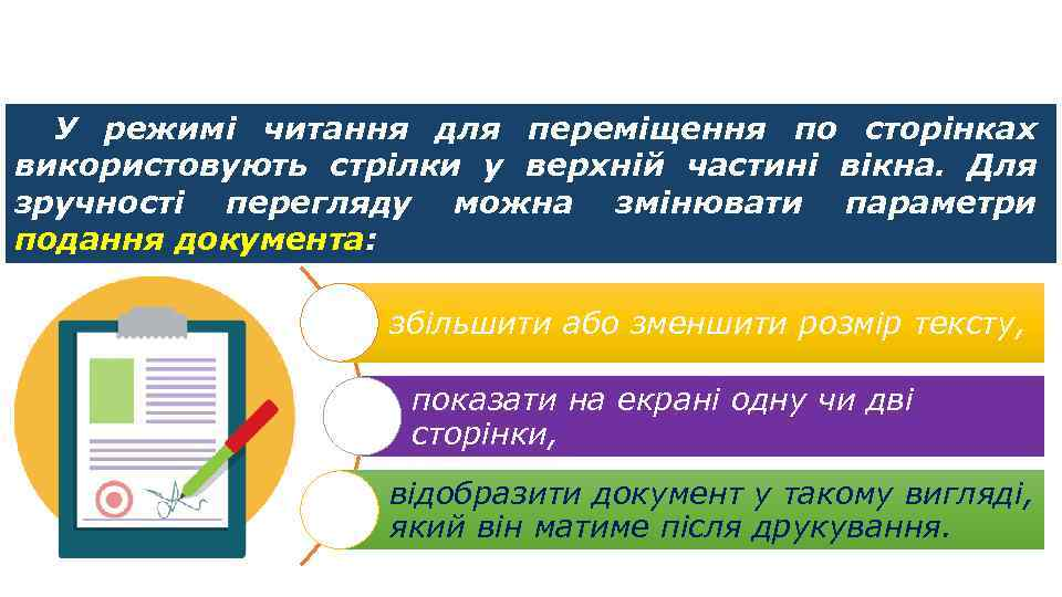 Режим читання У режимі читання для переміщення по сторінках використовують стрілки у верхній частині