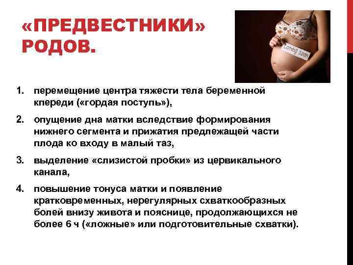 «ПРЕДВЕСТНИКИ» РОДОВ. 1. перемещение центра тяжести тела беременной кпереди ( «гордая поступь» ),
