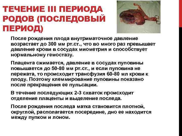 ТЕЧЕНИЕ III ПЕРИОДА РОДОВ (ПОСЛЕДОВЫЙ ПЕРИОД) После рождения плода внутриматочное давление возрастает до 300