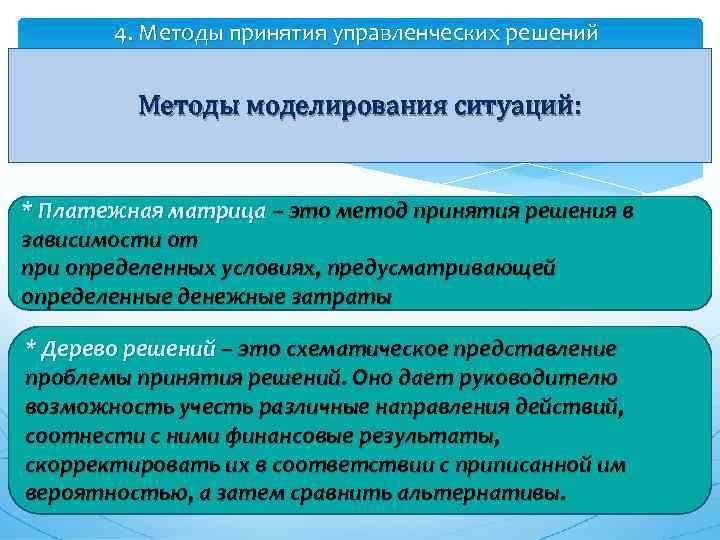 4. Методы принятия управленческих решений Методы моделирования ситуаций: * Платежная матрица – это метод