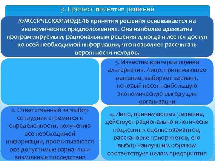 3. Процесс принятия решений КЛАССИЧЕСКАЯ МОДЕЛЬ принятия решения основывается на экономических предположениях. Она наиболее