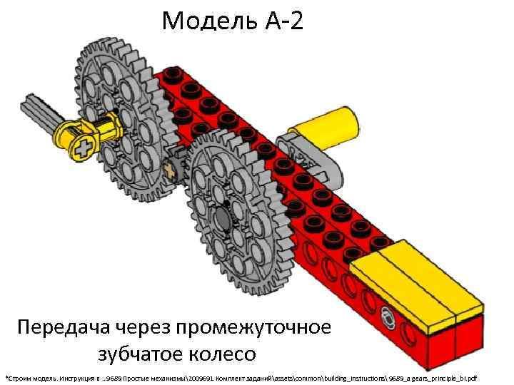 Модель А-2 Передача через промежуточное зубчатое колесо *Строим модель. Инструкция в … 9689 Простые