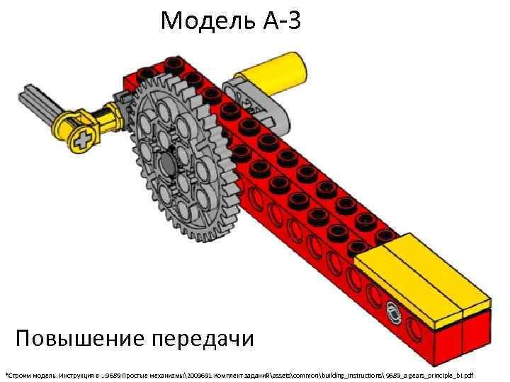 Модель А-3 Повышение передачи *Строим модель. Инструкция в … 9689 Простые механизмы2009691 Комплект заданийassetscommonbuilding_instructions