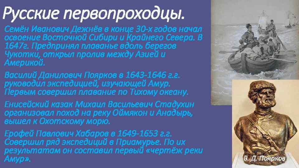 Русские первопроходцы. Семён Иванович Дежнёв в конце 30 -х годов начал освоение Восточной Сибири
