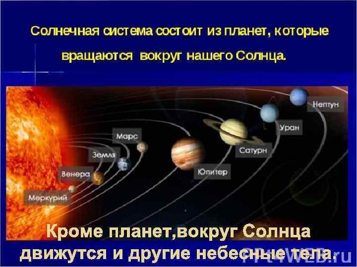 Кроме планет, вокруг Солнца движутся и другие небесные тела.