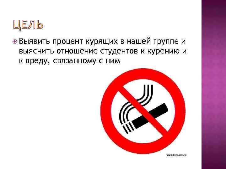 Выявить процент курящих в нашей группе и выяснить отношение студентов к курению и