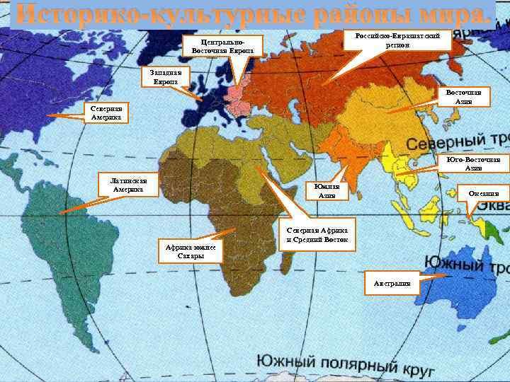 Историко-культурные районы мира. Российско-Евразиатский регион Центрально. Восточная Европа Западная Европа Восточная Азия Северная Америка