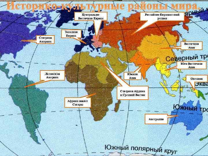 Историко-культурные районы мира. Центрально. Восточная Европа Северная Америка Российско-Евразиатский регион Западная Европа Восточная Азия