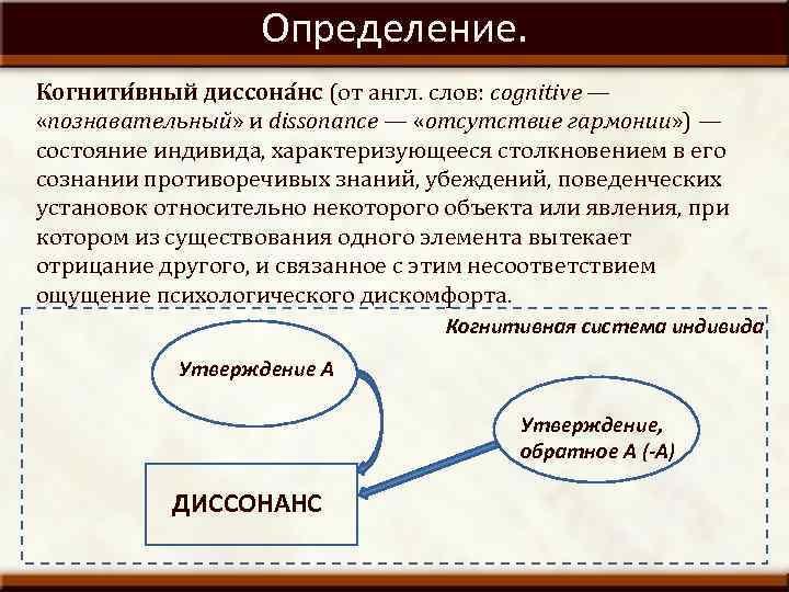 Определение. Когнити вный диссона нс (от англ. слов: cognitive — «познавательный» и dissonance —