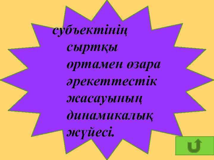 субъектінің сыртқы ортамен өзара әрекеттестік жасауының динамикалық жүйесі. 13