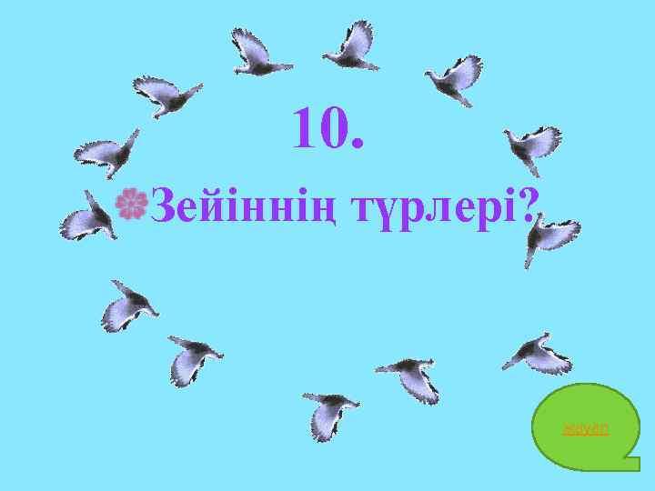 10. Зейіннің түрлері? жауап 22