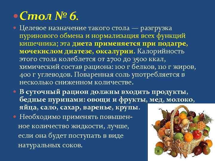 Диета при подагре 6 рецепты