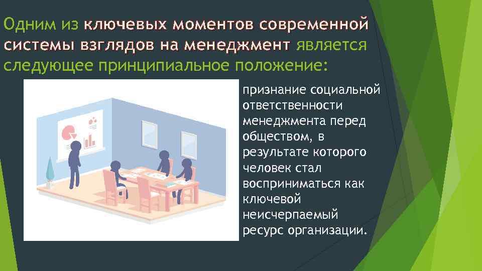 Одним из ключевых моментов современной системы взглядов на менеджмент является следующее принципиальное положение: признание