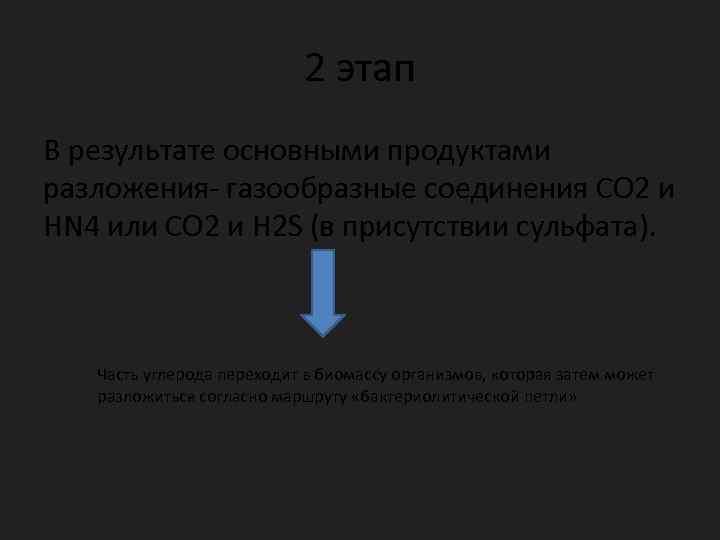 2 этап В результате основными продуктами разложения- газообразные соединения CO 2 и HN 4