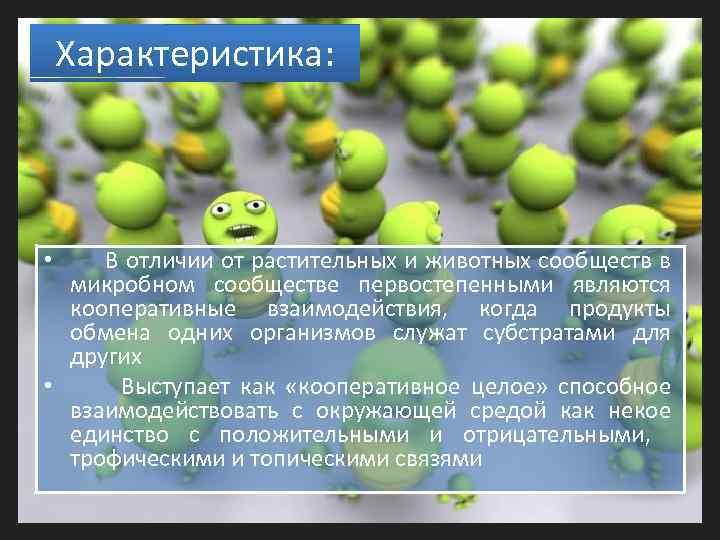 Характеристика: В отличии от растительных и животных сообществ в микробном сообществе первостепенными являются кооперативные