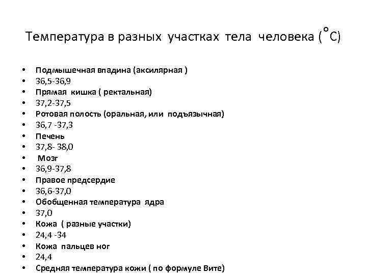 Температура в разных участках тела человека (°С) • • • • • Подмышечная впадина