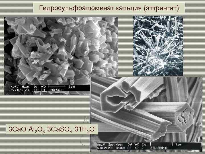 Гидросульфоалюминат кальция (эттрингит) 3 Ca. O·Al 2 O 3· 3 Ca. SO 4· 31