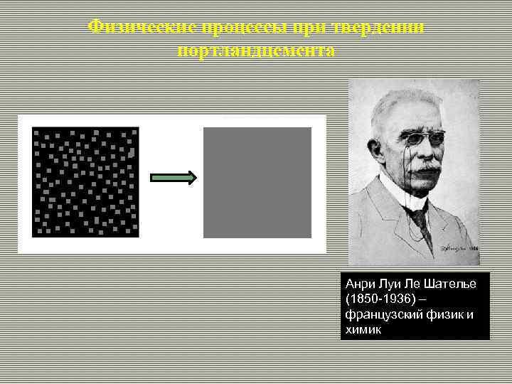 Физические процессы при твердении портландцемента Анри Луи Ле Шателье (1850 -1936) – французский физик