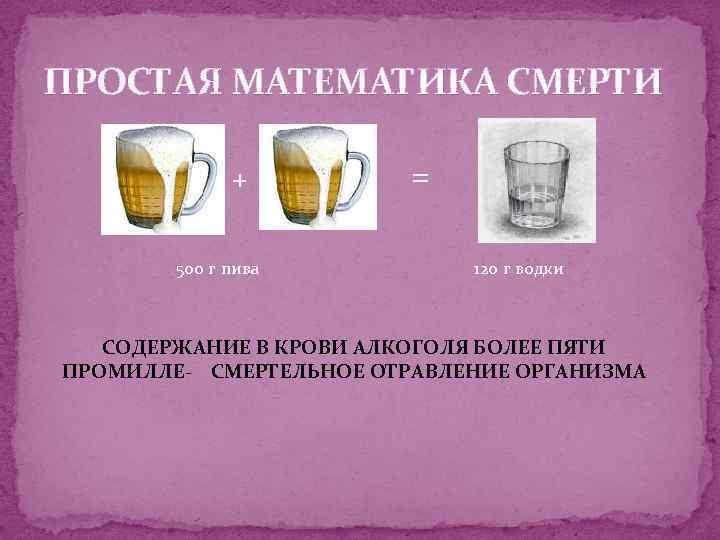 ПРОСТАЯ МАТЕМАТИКА СМЕРТИ + 500 г пива = 120 г водки СОДЕРЖАНИЕ В КРОВИ