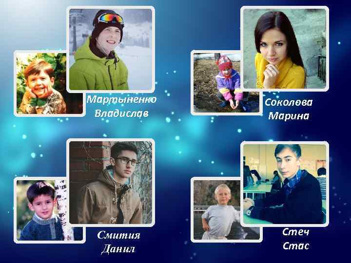 Мартыненко Владислав Смития Данил Соколова Марина Стеч Стас