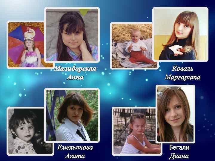 Малиборская Анна Емельянова Агата Коваль Маргарита Бегали Диана