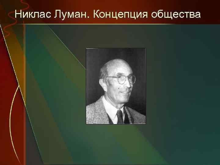 Никлас Луман. Концепция общества