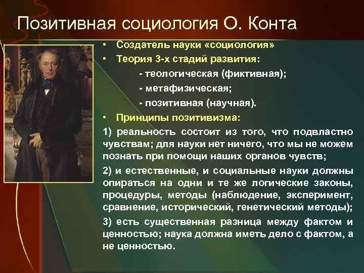 Позитивная социология О. Конта • Создатель науки «социология» • Теория 3 -х стадий развития: