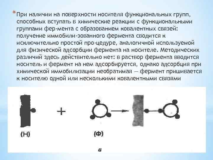 * При наличии на поверхности носителя функциональных групп, способных вступать в химические реакции с