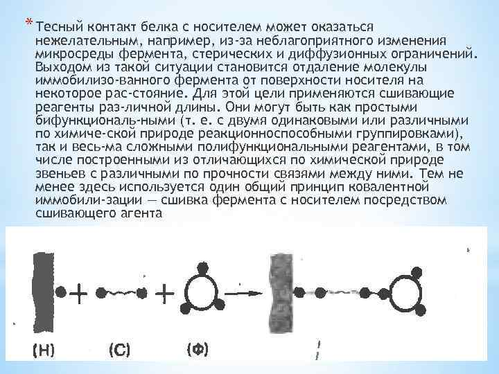 * Тесный контакт белка с носителем может оказаться нежелательным, например, из-за неблагоприятного изменения микросреды