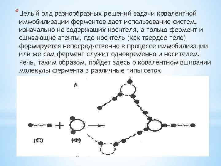 *Целый ряд разнообразных решений задачи ковалентной иммобилизации ферментов дает использование систем, изначально не содержащих