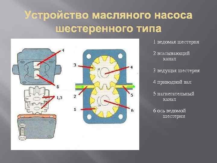 Устройство масляного насоса шестеренного типа 1 ведомая шестерня 2 всасывающий канал 3 ведущая шестерня