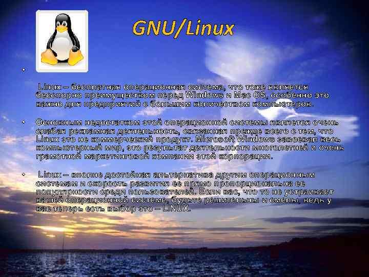 GNU/Linux • • • Linux – бесплатная операционная система, что тоже является бесспорно преимуществом