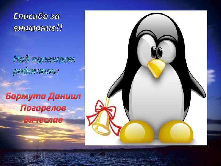 Спасибо за внимание!! Над проектом работали: Бармута Даниил Погорелов Вячеслав