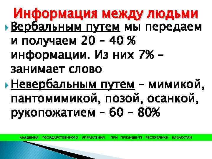 Информация между людьми Вербальным путем мы передаем и получаем 20 – 40 % информации.